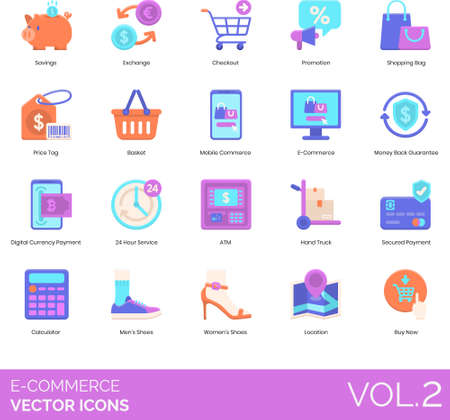 Flat icons of e-commerce and online shopping, mobile commerce, purchase, purchase