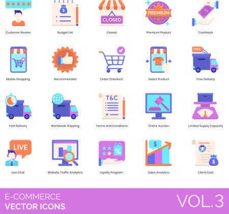 Flat icons of e-commerce and online shopping, review, app, delivery, analytics