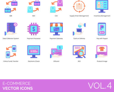 Flat icons of e-commerce and online shopping, business marketing, payment, SEO