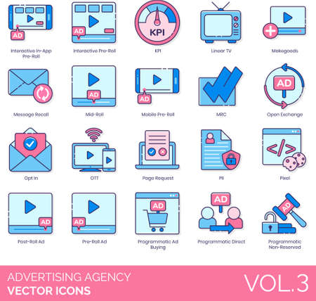 Line icons of advertising agency, creative agency, advertisement, business strategy