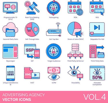 Line icons of advertising agency, retargeting, target audience, viewability Ilustración de vector