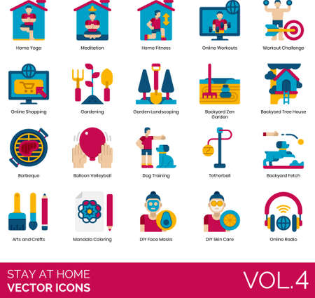 Flat icons of stay at home order, workout, gardening, dog training, arts and crafts Ilustracja