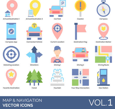 Flat icons of maps and navigation, direction, GPS, track location.