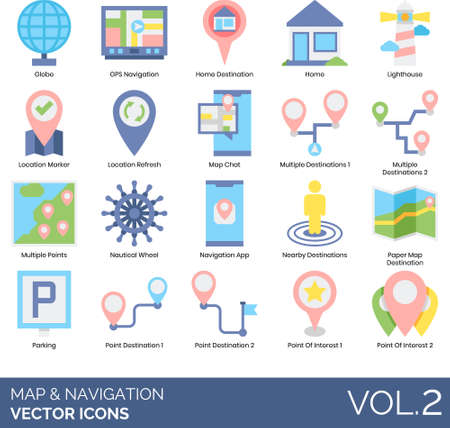 Flat icons of maps and navigation, GPS, destination, point of interest.