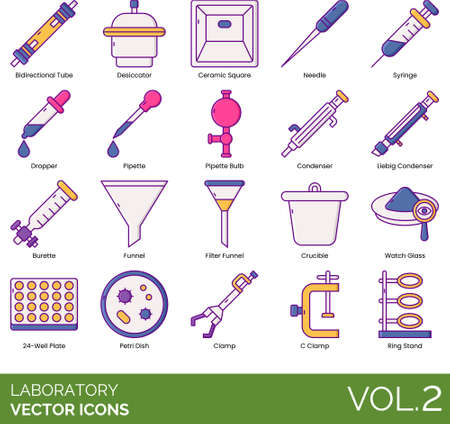 Line icons of laboratory equipment, instruments and devices for experiments