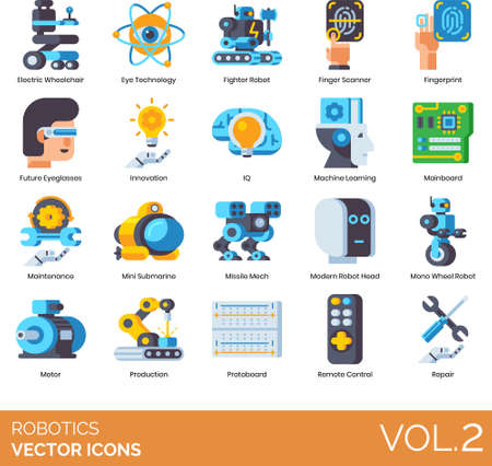 Flat icons of robotics, artificial intelligence, automation