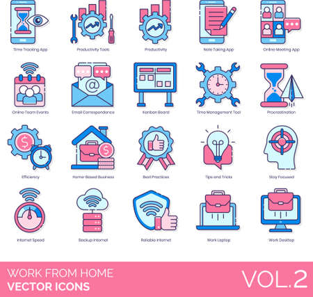 Line icons of work from home during quarantine, productivity, time management, internet speed.