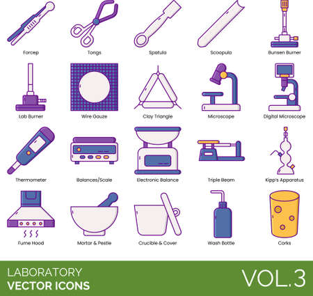 Line icons of laboratory experiment instruments and devices