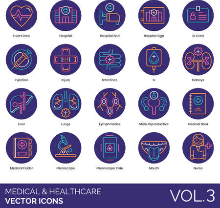 Line icons of medical and healthcare, hospital, therapy, human internal organ, medical record.