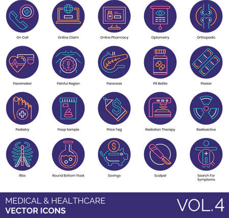 Line icons of medical and healthcare, online pharmacy, medication, symptoms. Vectores
