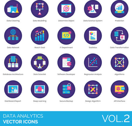Flat icons of data analytics, statistics, database architecture, dashboard report
