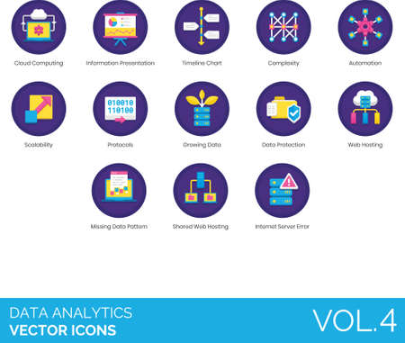 Flat icons of data analytics, information presentation, data protection, web hosting