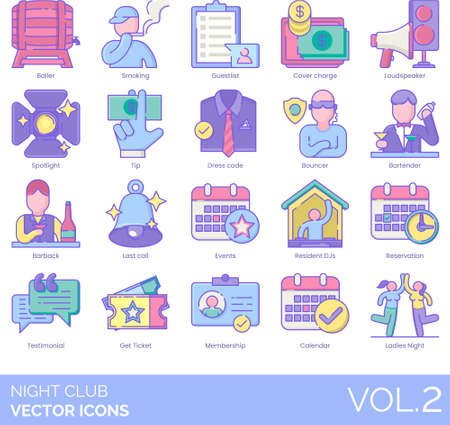 Line icons of night club and party, events, membership, staff