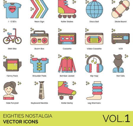 Line icons of 80s nostalgia, gen x, electronics, fashion, lifestyle