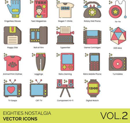 Line icons of 80s nostalgia, technology, electronic devices, fashion.