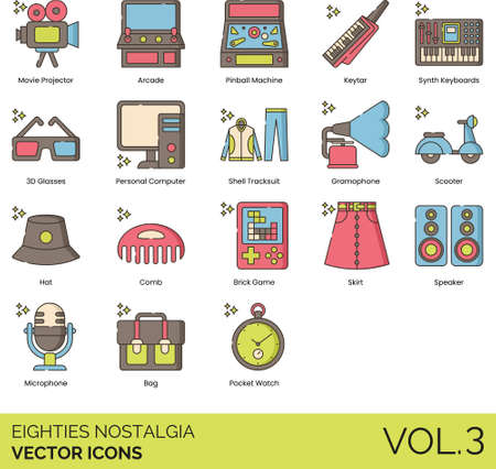 Line icons of 80s nostalgia, games and entertainment, fashion, technology, gen x.