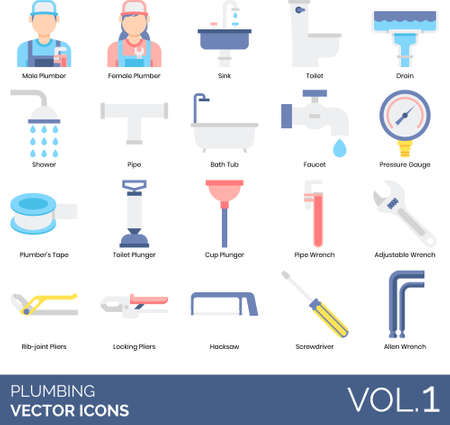 Flat icons of plumbing and sanitary, plumber, installation, tools and equipment.