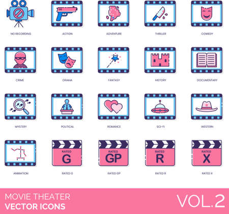 Line icons of movie theater, movie genre, rating system.