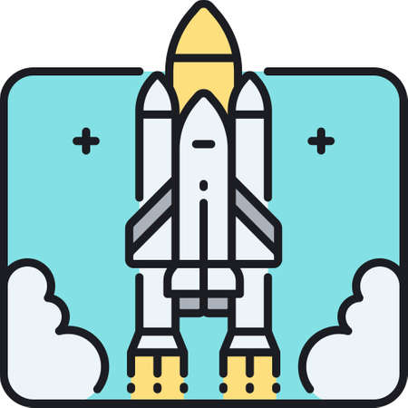 Vector line icon illustration of space shuttle launch. Rocket takes off into the sky.