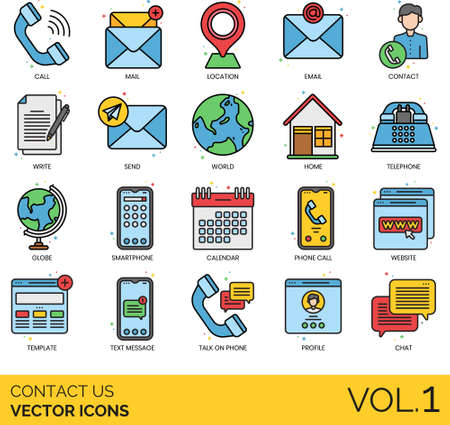 Line icons of contact us and customer service, support, communication