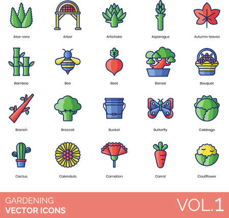 Line icons of gardening, insects, type of plants, vegetables and flowers.