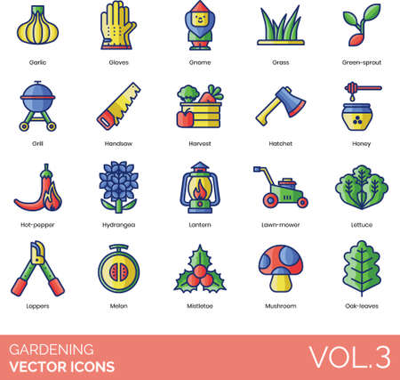 Line icons of gardening tools, outdoor equipment, plant harvest Ilustracja