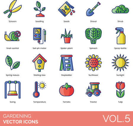 Line icons of gardening equipment, plants, tractor