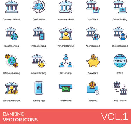 Line icons of banking and finance app, types of banking, transaction