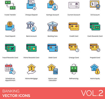 Line icons of banking and finance, transaction, account, card, loan