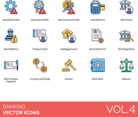 Flat icons of banking and finance, risk and fraud, currency exchange