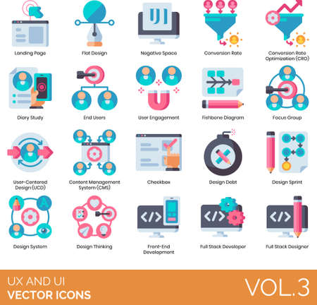 Flat icons of UI and UX, content management system, developer, end user Vektorové ilustrace