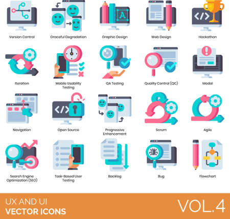 Flat icons of UI and UX design, development, hackathon, SEO