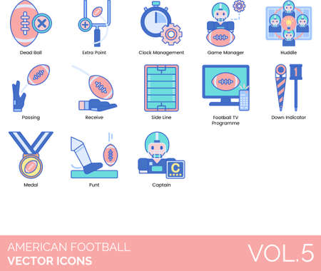 Line icons of american football rules, players, medal