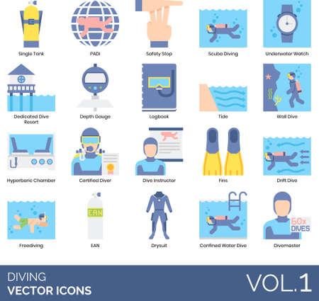 Flat icons of diving, underwater sport equipment, professional diver, association Vektorgrafik