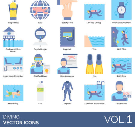 Flat icons of diving, underwater sport equipment, professional diver, association