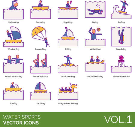 Line icons of water sports types, watercraft, outdoor activities 向量圖像