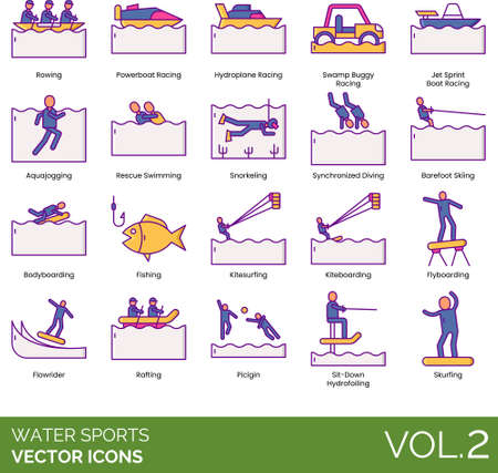 Line icons of water sports types, outdoor activities, hobby and interest
