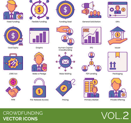 Line icons of crowdfunding, funding goal, pricing, offering