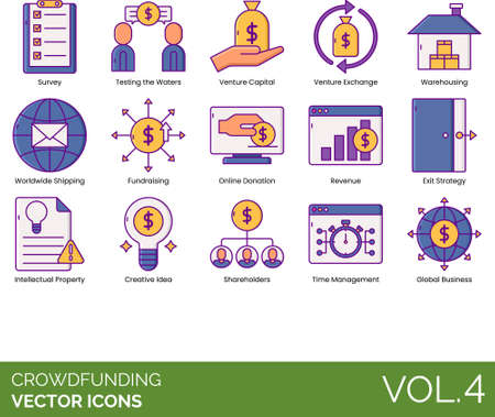 Line icons of crowdfunding, online donation, venture capital, fundraising Vettoriali