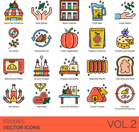 Line icons of foodies and gourmet club, organic product, baking and pastry, foodstore
