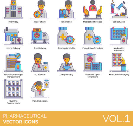 Line icons of pharmaceutical industry, healthcare, services, prescription, vaccine Ilustração