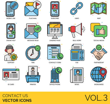Line icons of contact us, customer support, contact form, business site