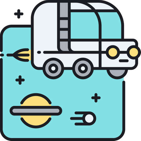 Vector line icon illustration of space car. Modern futuristic vehicle.