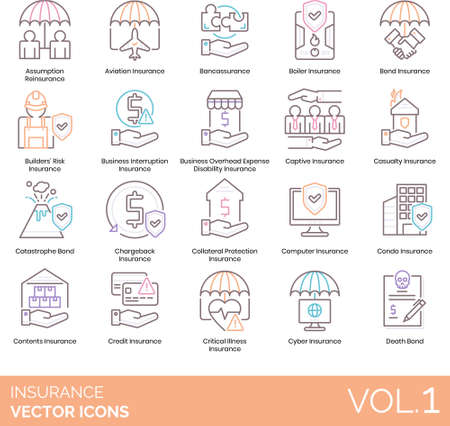 Line icons of insurance category, investment and protection