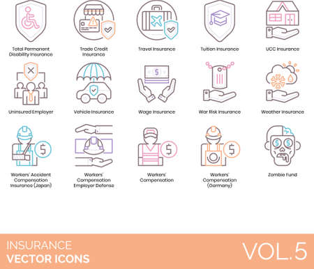 Line icons of insurance category, uninsured, zombie fund, compensation