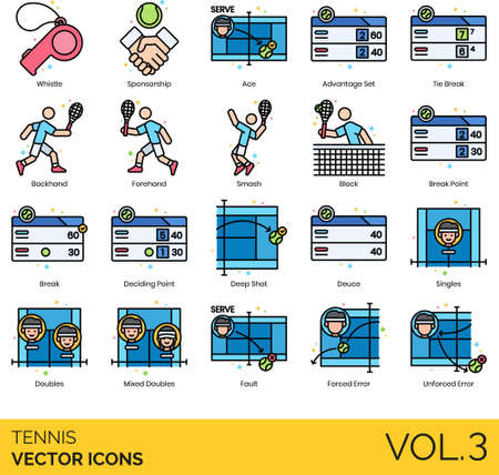Line icons of tennis rules, techniques, points