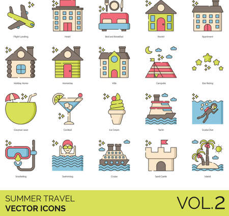 Line icons of summer travel, accommodation, tourist attractions, beverages