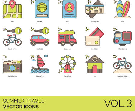 Line icons of summer travel and vacation, transportation, boarding pass, tourist attractions Иллюстрация