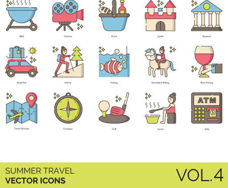 Line icons of summer travel tourist attractions, itinerary, road trip