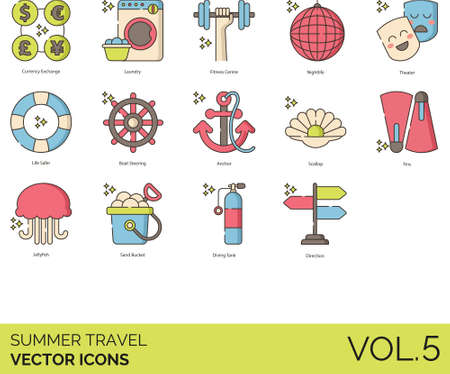 Line icons of summer travel, currency exchange, vacation on tropical beach Иллюстрация